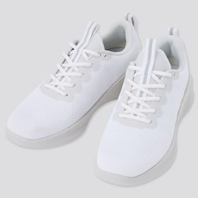 Knit Lace Up Sneakers, White, Medium