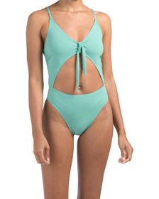 Made In Usa Tie Front Cheeky Coverage One-piece Sw