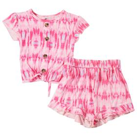 Girls (4-6x) One Step Up 2pc. Tie Dye Tie Front To