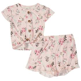 Girls (4-6x) One Step Up Ditsy Tie Front Top & Sho