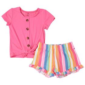 Girls (4-6x) One Step Up 2pc. Tie Front Top & Stri
