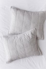 Washed Cotton Grey Quilted Sham Set