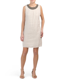 Made In Italy Linen Beaded Neck Shift Dress