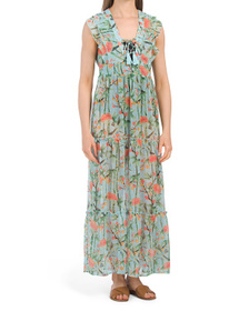 Bamboo Print Ruffle Tiered Cover-up Maxi Dress