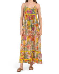 Tiered Floral Maxi Cover-up Dress