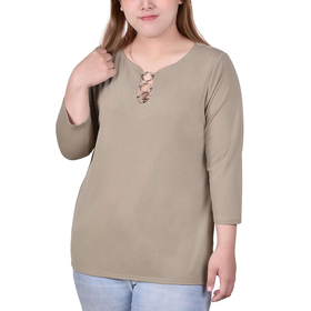 Plus Size NY Collection 3/4 Sleeve Crepe Top With