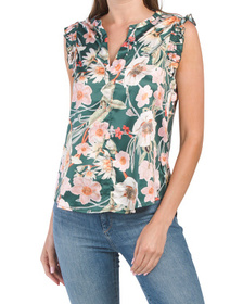 Floral Printed Blouse With Ruffle Sleeve