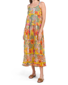Pool Side Patch Ruffle Cover-up Maxi Dress