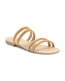 Made In Italy Multi Band Leather Flat Sandals