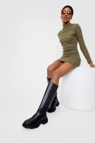 Nasty Gal Black Faux Leather Wellie Knee High Boot
