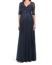 Chiffon Overlay Sequin Gown