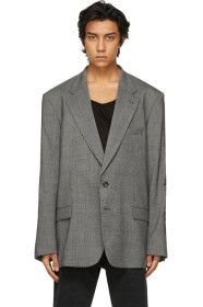 vetements - Grey Houndstooth Gothic Logo Tailored