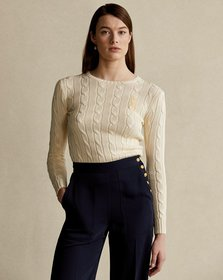Ralph Lauren Beaded-Pony Cable-Knit Sweater