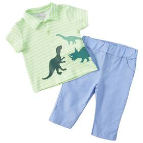 Baby Boy (0-9M) Quiltex 2-piece Dino Polo and Pant