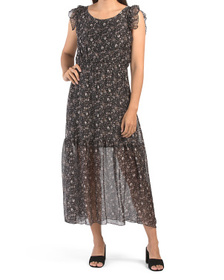 Ditsy Floral Silk Flutter Sleeve Tiered Maxi Dress