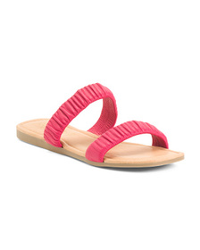 Made In Italy Leather Double Band Slide Sandals