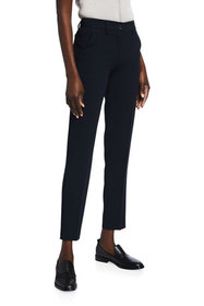Emporio Armani Solid Crepe Ankle Trousers