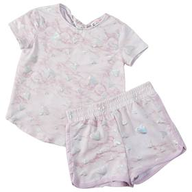 Girls (4-6x) Poof! Marble Top & Shorts Set with Fo