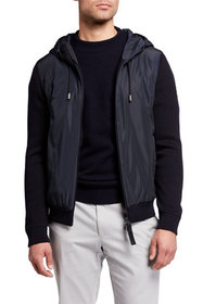 BOSS Men's Hooded Knit Jacket with Nylon Front