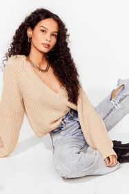 Nasty Gal Oatmeal Keep Knit Chilled V-Neck Cropped
