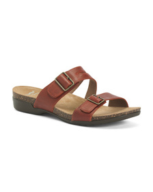 Comfort Double Buckle Leather Sandals
