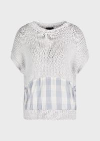 Armani Wide weft sweater with check silk detail