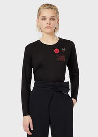 Armani Jersey sweater with ox patch and brooch
