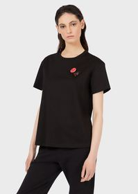 Armani Jersey T-shirt with ox patch and brooch
