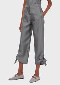 Armani Draped trousers with bows at the cuffs