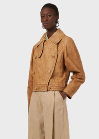 Armani Double-breasted blouson in partially plant-