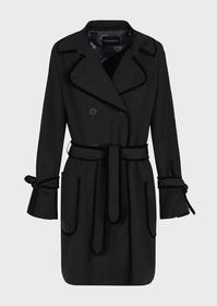 Armani Belted taffeta trench coat with back flounc