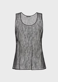 Armani Mesh top with all-over rhinestone embroider