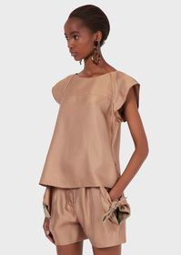 Armani Flowing viscose top with flounced sleeves