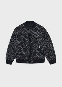 Armani Satin bomber jacket with all-over, stencill