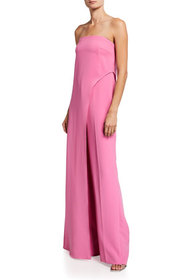 Halston Strapless Stretch Crepe Jumpsuit With Over