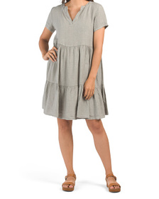 Made In Italy Linen Tiered Split V Baby Doll Dress