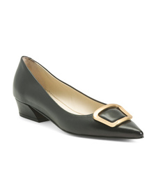 Made In Italy Leather Pointy Toe Flats With Hardwa
