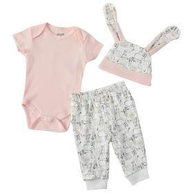 Baby Girl (NB-3M) Chick Pea 3-piece Bunny Joggers