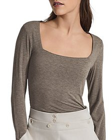 REISS - Bea Square Neck Jersey Top