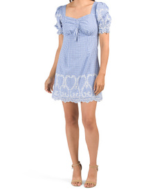 Gingham Embroidered Cottage Dress