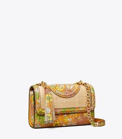 Tory Burch Fleming Printed Straw Small Convertible