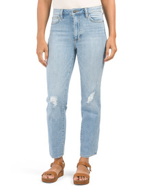 Stiletto Straight Ankle Jeans With Destruction