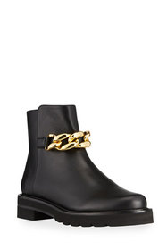 Stuart Weitzman Leather Chain Ankle Booties