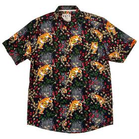 Mens Visitor Floral and Tiger Print Button Down Sh