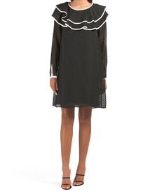 Topped Ruffle Collar Cocktail Dress