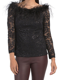 Sequin And Feathers Off The Shoulder Top