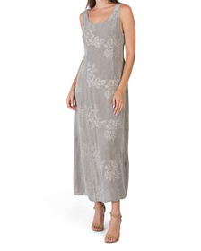 Made In Italy Linen Sleeveless Tonal Embroidered D