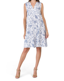 Made In Italy Linen Toile Sleeveless Babydoll Dres