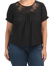 Plus Eyelet Knit Top With Embroidery