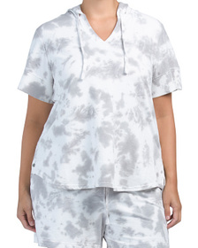 Plus Short Sleeve Tie Dye Hooded French Terry Top